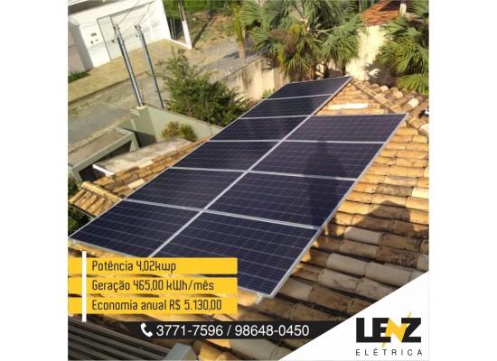SISTEMA DE ENERGIA SOLAR FOTOVOLTAICA RESIDENCIAL 4,02 KWP
