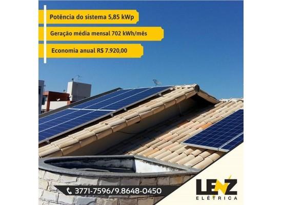 SISTEMA DE ENERGIA SOLAR FOTOVOLTAICA RESIDENCIAL 5,85 KWP